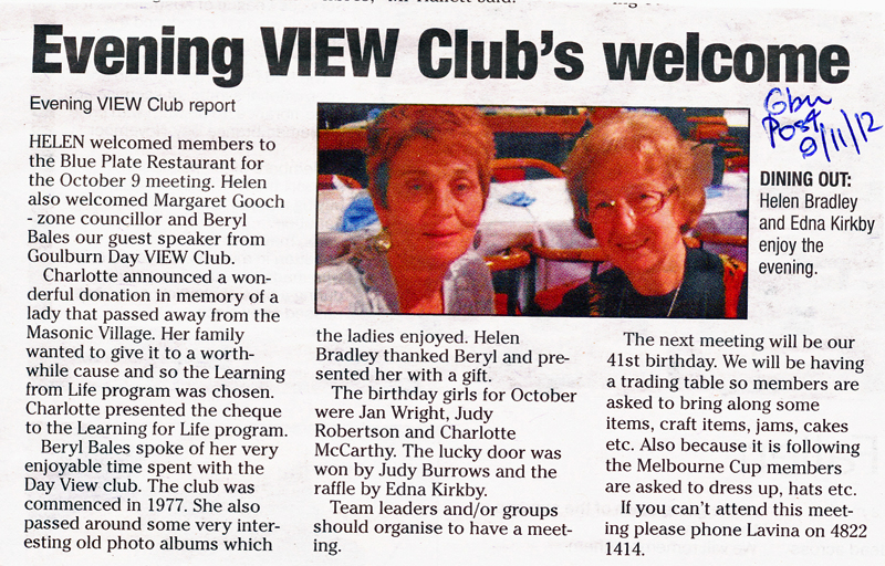 C'tee member, Helen Bradley also Pres of Evening VIEW Club